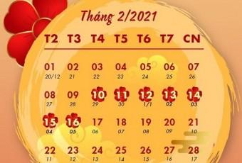 THÔNG BÁO về việc nghỉ Tết âm lịch Tân sửu